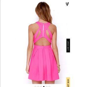 LuLus test drive neon pink dress